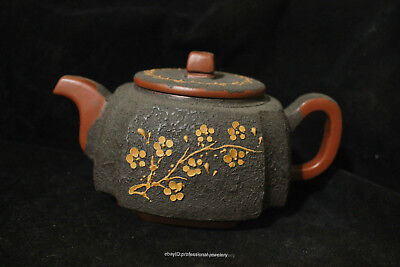 Chinese Yixing  Hand-carved Authentic Purple Clay Plum flower ZiSha Teapot pot