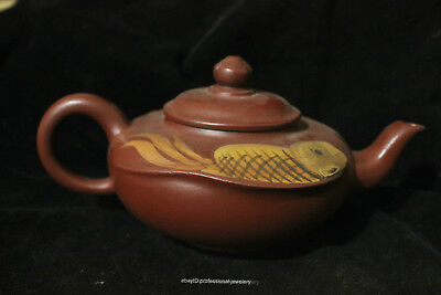 Chinese Yixing  Hand-carved Authentic Purple Clay double fish  ZiSha Teapot pot