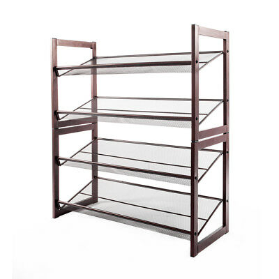 4 Tier Stackable Metal Shoe Rack Flat U0026 Slant Adjustable Shoe Organizer  Shelf US