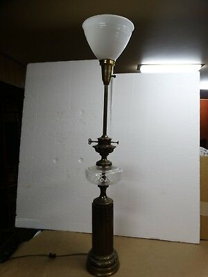 Vintage Mid Century Stiffel Table Floor Lamp Brass Crystal