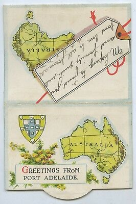 1908 Fold Out Card Greetings From Port Adelaide Six Coloured Images X73