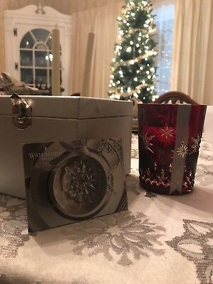 Waterford SNOWFLAKE WISHES Ruby Red Double Old Fashioned DOF 2011 JOY - NEW/BOX!
