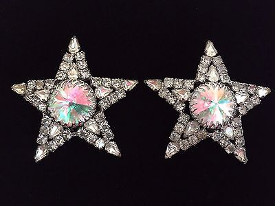 EXTREMELY RARE Pair Of Signed Kirks Folly HUGE Aurora Borealis Star Earrings