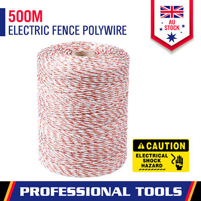 500m Roll Polywire Electric Fence Stainless Steel Poly Wire Energiser Insulator