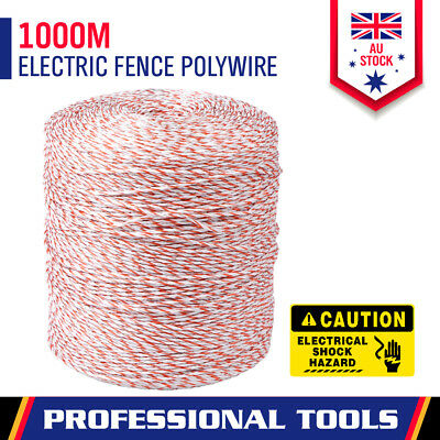 1000m Roll Polywire Electric Fence Stainless Steel Poly Wire Energiser Insulator