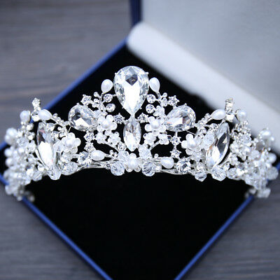 Vintage Silver Wedding Bridal Rhinestone Pearl Princess Tiara Crown Headband New