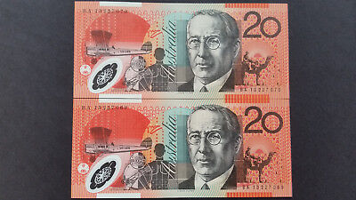 """Australia""$20""Year 2013""P59e""Polymer""Plane""SUPERB""GEM UNC""Run 2pcs Consecutive"