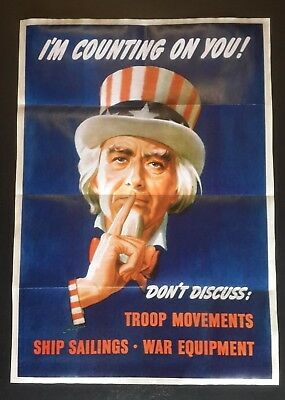 1943 Ww2 Usa America Us Uncle Sam War Army Hat Careless Talks Cost Lives Poster