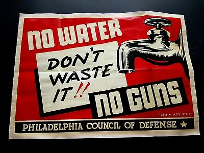 1942 Ww2 Us Usa America Tap Water Defense War Army Soldier Nazi Axis Army Poster