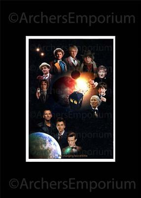 Dr Who, Cast Art Print, The Changing Face of Time. A3 Size. New & Exclusive.