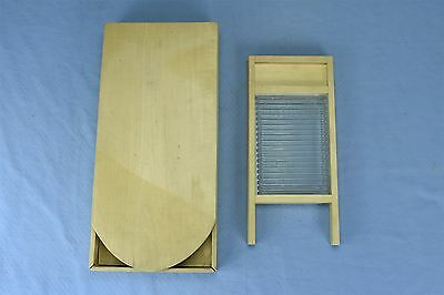 Antique CRYSTAL GLASS WASHBOARD SMALL in TRAVELING IRONING BOARD HOLDER  #3198