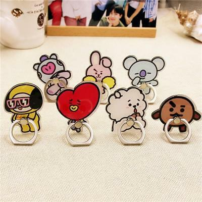 BTS BT21 Cartoon Mobile Phone Stand Holder Cute Finger Ring Grip Universal 360°