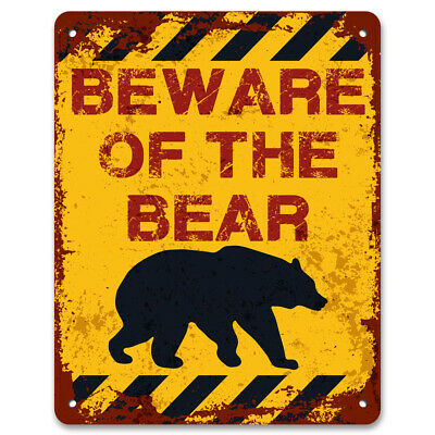 Beware Of The Bear | Vintage Metal Garden Warning Sign | Keep Out No Trespassing