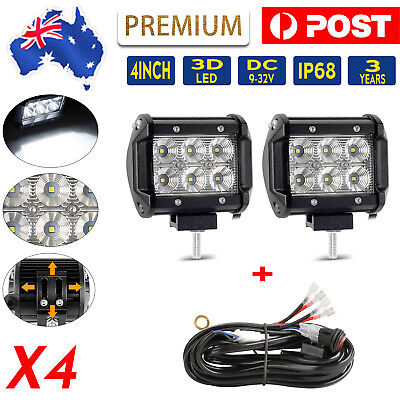 4inch 200W 3 Row CREE LED Work Light Bar SPOT FLOOD Offroad 4x4 Driving Fog Lamp