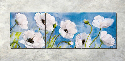 Print Canvas Art Oil Painting Abstract White Poppy Flowers Wall Decor Set Frame