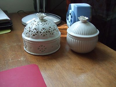 Leeds Creamware Antique Pots X 2 No, 19C Hartley Green & Co