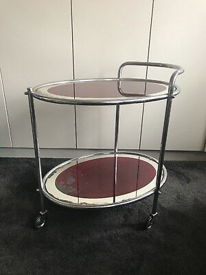 Beautiful Vintage Art Deco Chrome Drinks Trolley Bar Cart collect London