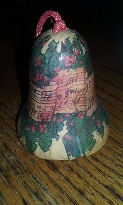 Decoupage BELL Christmas Ornament - Victorian Sheet Music & Holly - New Year's