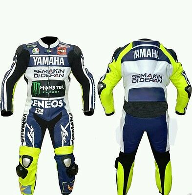 YAMAHA MotoGp MOTORCYCLE RACING LEATHER  SUIT - CE APPROVED FULL PROTECTION