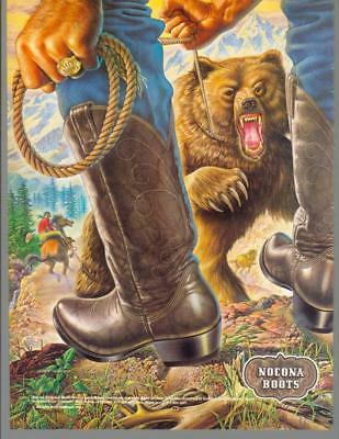 1981 Nocona Leather Cowboy Western Boots Rodeo Bear Horse Vintage Print Ad 80s