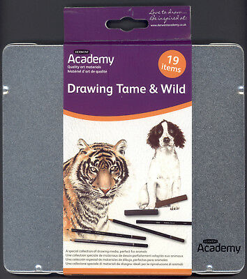 Derwent Academy 19 Piece Pencil Drawing Set NEW Artist Quality Pencils in tin
