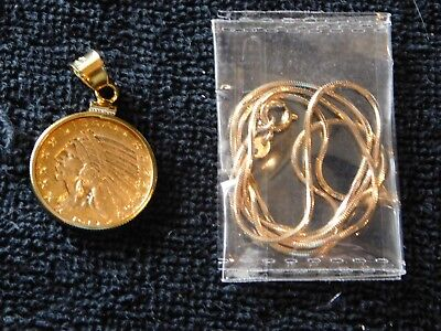 Gold Pendant $5 Gold coin with 14k gold clasp and chain