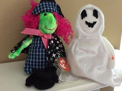 TY Beanie Babies Lot of 2- SCARY the witch & SHEETS the ghost - Halloween