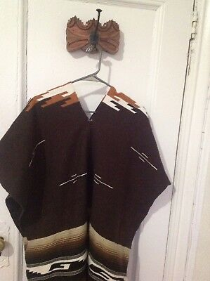 Tribal Serape Mexican Poncho - Brown Beige - One Size Fits All Blanket Gabon