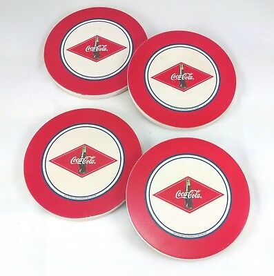 """Coca-Cola Red & White 4"""" Ceramic Coasters with Cork Bottoms Vintage 2003"""
