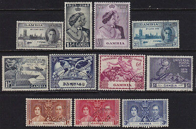 GAMBIA. KGVI 1948 set mint LH and early commemoratives, used.