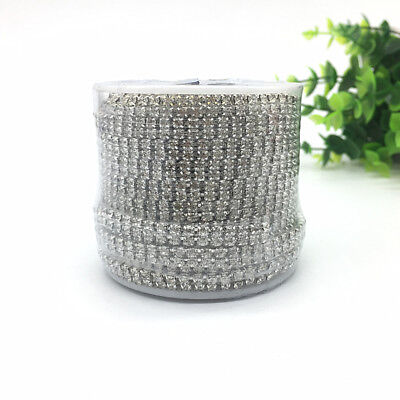 Silvery Double Row SS12 Crystal Dense Cup Chain Rhinestone Jewelry Making Crafts
