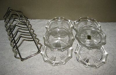Vtg Silver Plate Coaster Caddy Holder & 6 Reims France Glass Coasters