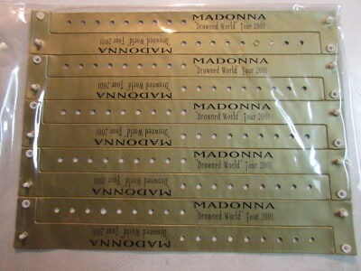 Madonna 2001 Drowned World Tour Set Of 10 Gold Vip Bracelet Wristbands Rare Htf