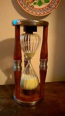 Quirky Unusual Fluted Glass Old Wooden Mill Bobbins Hour Glass Sand Timer
