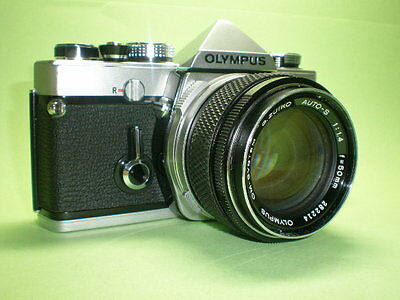 Vintage Olympus OM-1 w/ Excellent Zuiko Auto S 1.4/50 silver nose  Cult Lens