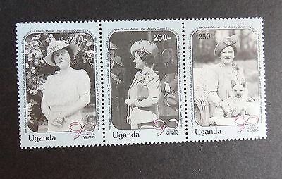 Uganda 1990 Queen Mother's 90th Birthday se tenant strip MNH UM unmounted mint
