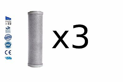 """3x Activated carbon block drinking water filter replacement chlorine removal 10"""""""