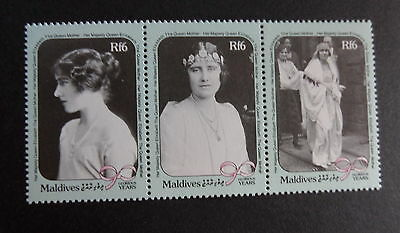 Maldives 1990 Queen Mother's 90th Birthday strip of 3 UM MNH unmounted mint