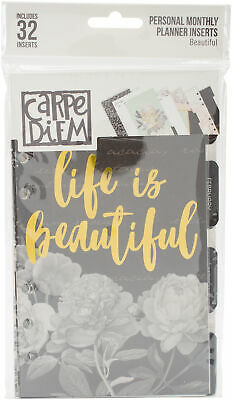 Carpe Diem Beautiful Double-Sided Personal Planner Inserts-Monthly, Undated, Par