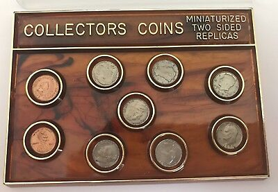 U.S. Coin Miniature collection dollar to penny 9 coins lot with Case Vintage Set