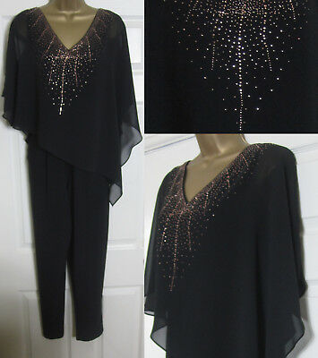 NEW EX Wallis Ladies Embellished Overlay Jumpsuit Occasion Party Black Sz 10-18
