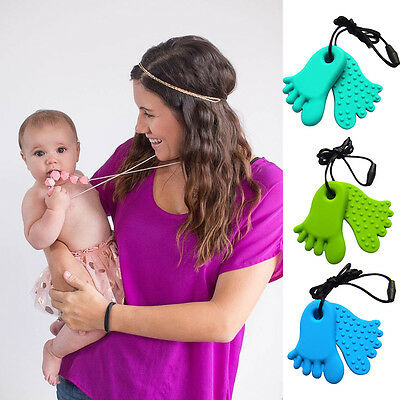 New Teething necklace baby teether sensory chew Feet pendant BPA free silicone