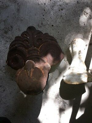2 Vintage Antique Eagle Claw Foot Wall Mountable Feet Cast Iron