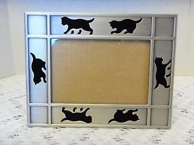 "Pewter Brushed Silver Tone Cat/Kitten/Kitty Picture Frame 3 X 4.5"" w/Velvet"
