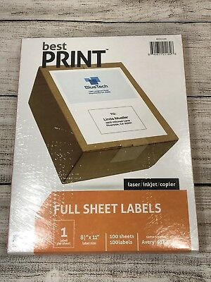 "Best Print Full Sheet Address Labels  8-1/2 x 11"" 1/Sheet 100/Box bx16"