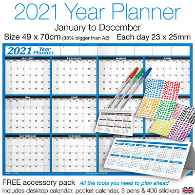 2019 Yearly Planner Annual Wall Chart Year Planner +Stickers +Pen +Desk Calendar