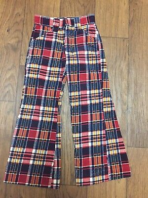 Kids Vintage Bell Bottoms corduroy Billy The Kid Plaid Fall Winter 6