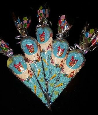 """5 x Large  Pre Filled Kid Sweet Cones """"THANK YOU FOR COMING TO MY PARTY"""" BLUE"""