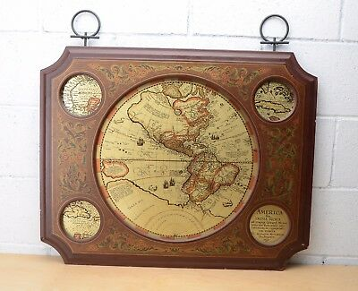 Vintage Masketeers Brass Mid Century Old World Globe Map Wood Frame Wall Picture