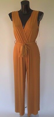 Pleated Ladies Jumpsuit Wide Leg Made in Italy S/Less Crossover Belted One Size